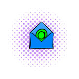 Open envelope with e-mail sign icon, comics style Stock Photo