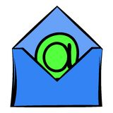 Open envelope with e-mail sign icon, icon cartoon Stock Images