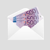 Open envelope and 500 euro bills cash Royalty Free Stock Photo
