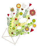 Open Envelope with Flowers. Open Letter with a lot of red hearts, flowers, leaves and other natural elements isolated on white background Stock Photos