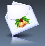 Open envelope with golden bells. And holly berries stock illustration