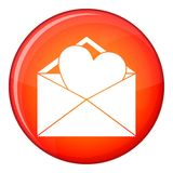 Open envelope with heart icon, flat style. Open envelope with heart icon in red circle isolated on white background vector illustration royalty free illustration