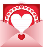 Open envelope with heart postcard Royalty Free Stock Photos