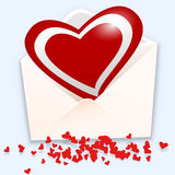 Open envelope with heart Royalty Free Stock Photography