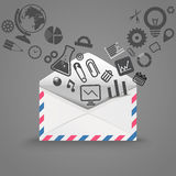Open envelope with icons Royalty Free Stock Photography