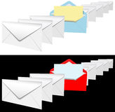 Open envelope letter in row of letters Stock Image