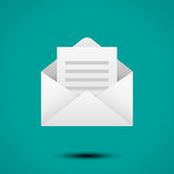 Open envelope for letter. Symbol of message, mail, email or business document. Realistic icon on white background. Vector illustration royalty free illustration