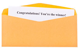 Congratulations! You're the winner ! Stock Photos