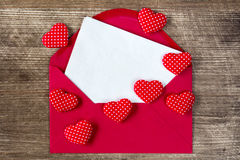 Open envelope with love letter. Royalty Free Stock Photo