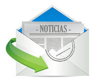 Open Envelope with News Paper inside in Spanish Royalty Free Stock Photo