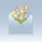 Open envelope with origami flowers Royalty Free Stock Photography