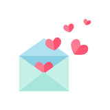 Open envelope with pink hearts Stock Photos