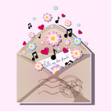 Open envelope with postal stamp. From the edge of the envelope pops out letters to friends with an inscription and fly flowers, re. D hearts and musical notes Royalty Free Stock Photos