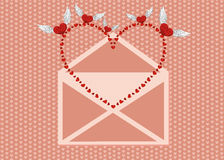 Open the envelope and pulled out the bird from his red heart. Valentine`s Day. Love inside. Vector illustration on pink background. Greeting card royalty free illustration