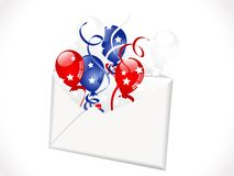 Envelope with balloons. Open envelope with red, blue and white balloons Royalty Free Stock Image