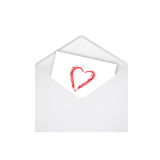Open envelope with red heart Stock Photo