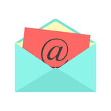 Open envelope with red paper sheet and at sign Stock Photos
