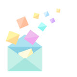 Open envelope with sheets motley Stock Photo