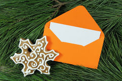 Open envelope with snowflake and fir tree Royalty Free Stock Images