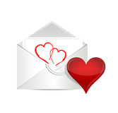 Open envelope with valentine heart Stock Photography