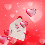 Open Envelope. Vector opened paper envelope with flying hearts vector illustration
