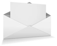 Open envelope. White open envelope with paper Stock Photography