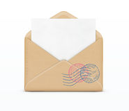 Open envelope and white paper Royalty Free Stock Photography