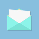 Open envelope with white sheet. Isolated on blue background. flat style design modern vector illustration Royalty Free Stock Photos