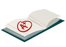 Open exercise book with A plus mark simple flat vector cartoon i stock illustration