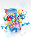 Open explore gift box for New Year. Christmas design stock illustration