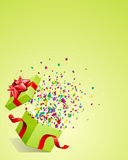 Open explore gift with fly stars Stock Images