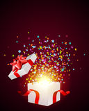 Open explore gift with fly stars Stock Image