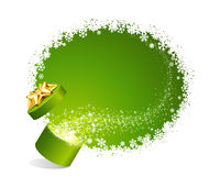 Open explore gift with fly stars. Christmas vector background Royalty Free Stock Image