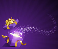 Open explore gift with fly stars. Vector background royalty free illustration