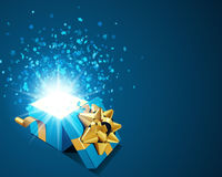 Open explore gift with fly stars Stock Photos