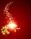 Open explore gift with fly stars. Vector background Stock Photos