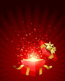 Open explore gift with fly stars Royalty Free Stock Images