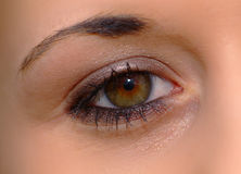 Open eye. Eye of a woman with brown iris stock photography