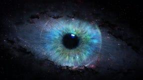 Open eye in space vector illustration