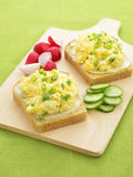 Open face egg salad sandwich Stock Photography