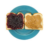 Open face peanut butter jelly Stock Images