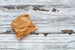 Open Face Peanut Butter Sandwich royalty free stock photography