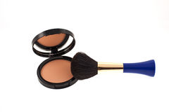 Open face powder with mirror and a brush Stock Image