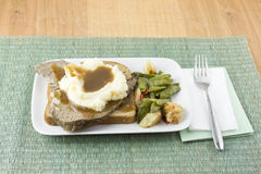 Open face roast beef sandwich Royalty Free Stock Photography