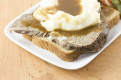 Open face roast beef sandwich detail Stock Photography