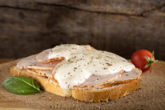 Open faced chicken ham sandwich with garilic sauce Royalty Free Stock Photography