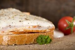 Open faced chicken ham sandwich with garilic sauce Royalty Free Stock Photos