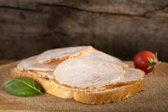 Open faced chicken ham sandwich Royalty Free Stock Image