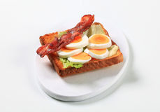 Open faced egg sandwich Stock Photos