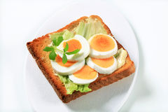 Open faced egg sandwich Royalty Free Stock Image